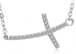 China White Gold Sterling Silver Sideways Cross Necklace For Women , Silver Cross Necklace on sale