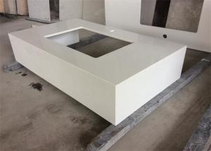 China Quartz Stone Gentle White Bathroom Vanity Tops With Undermount Sink , Solid Surface on sale