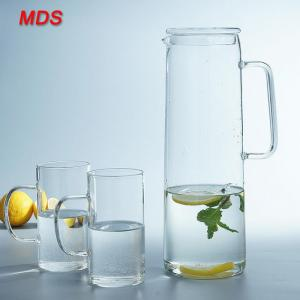 China OEM logo square stripe glass water beverage jug wholesale on sale