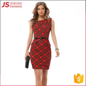 China JS 20 Hot Selling Ladies Modern Dress Woman O Neck Red Plaid Designs 766 on sale