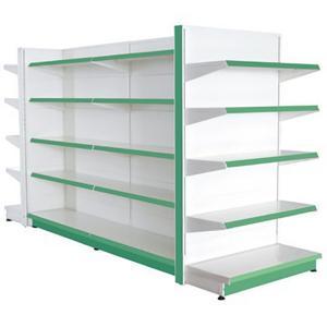 China Assemble Green Supermarket Display Racks Metal Grinding Back Panel on sale