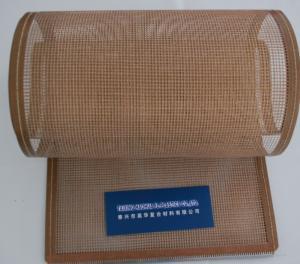 Quality Teflon/PTFEによって塗られるガラス繊維の開いた網/開いた網のコンベヤー ベルト for sale