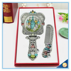 China Castle design Handle Mirrors Delicate Metal Hand Cosmetic Mirrors Handle Mirror with Comb Set Hand Held Mirrors on sale