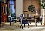 China Luxury room New classic Furniture Dining Tables and Wine Cabinet in glossy painting with Fabric Upholstered Chairs wholesale
