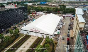 China Clear span tent with solid ABS walls for temporary exhibition hall on sale