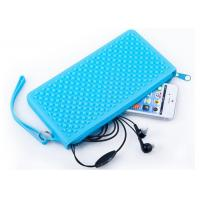 Lady Silicone Zippered Coin Purse Handbag With Handle , Blue / Pink Promotion