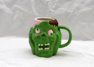 China Favourite Halloween Skull Cups Ceramic Coffee Tea Cup Green Color With Handle on sale