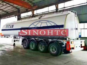 China 50m3 4 Alxe Fuel Tanker Semi Trailer , Diesel / Petrol Trailer Tank 6 Compartments supplier