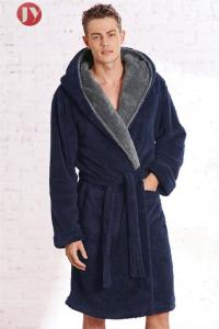 China china  Manufacturer Best Price Top Quality Hooded Men's navy Soft Spa Full Length Warm Bathrobe With Kimono Shawl Collar on sale