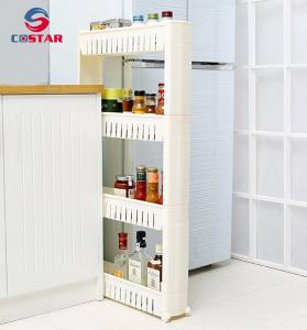China Space-saving small plastic plstic storage cart corner slim shelf rolling cart kitchen spicy jars rack-4 TIER on sale