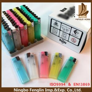 China Customer Logo Printed ABS Refillable Cigarette Lighter Flint Gas Lighter 80x22x11.30mm on sale