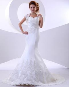 China Elegant mermaid Lace flower Halter Neck Wedding Dresses with Short Sleeve on sale