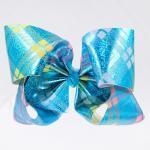 Glitter Grosgrain Cheer Hair Bows Butterfly Shape Double Face For Little Girl