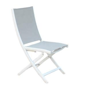 China Modern European Outdoor Garden Furniture Wholesale White Color PVC Mesh Back Aluminum Frame Foldable Beach Lounge Chair on sale