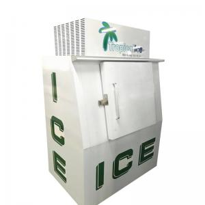 China Outdoor Ice Machine Upright Solid Door Ice Storage Freezer Ice Cooling System on sale