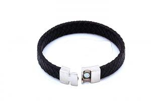 China Leather Stainless Steel Bangle Bracelet Matching Black Rubber With Metal Clasp For Men on sale