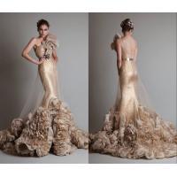 Flower Applique Gold Sequins Evening Dresses Beads Metal Belt Sash