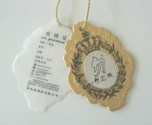 China Jewelry / Clothing Embossed Cardboard Hang Tag , Coated / Matte Brown Paper Hanging Tags on sale