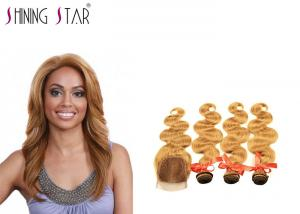 China Gold Blonde Body Curly Indian Hair Bundles Weave No Tangle Shedding Color 27 on sale