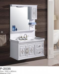 China Wall Mounted Bathroom Vanity With Sink Single Mirror Cabinet Ceramic Basin on sale
