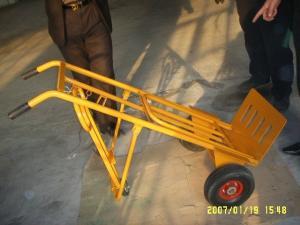 China Metal Folding Hand Truck (HT1824) RUBBER WHEEL BARROW FARDEN TOOL CART WHEELBARROW on sale