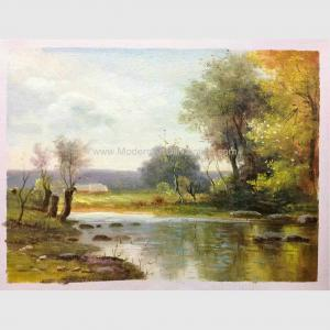 China Impressionist Original Oil Landscape Paintings River Rock Landscaping Handmade On Canvas on sale
