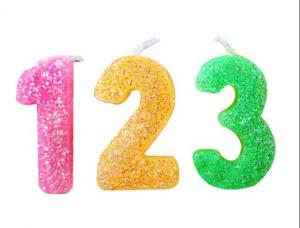China Rainbow Color Glitter Number Candles For Birthday / Charistmas / Party Decoration on sale