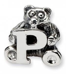 China 925 Sterling Silver Bead Charm Bear With Alphabet  For Bracelet Necklace on sale