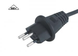 China Black European Power Cord SEV Approval Swiss Power Cable With?Sweden?Power Plug on sale