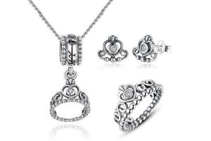 China 925 Sterling Silver Jewelry Sets My Princess Love Queen Crown for Wedding Engagement on sale