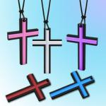 Personalized Customized Durable Colorful Cross Silicone Pendants For Boys / Girls
