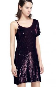 China Sequin Embroidery Bling Bling Party Dresses , One Shoulder Club Dress Going Out Wear on sale