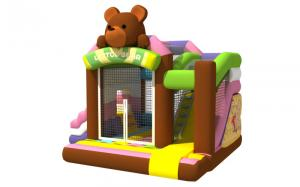 China Multi - Play Cute Inflatable Jump House Combo Brown Bear Double Slide on sale