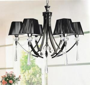 China Elegance European style black shade Crystal Pendant Lights & Chandeliers with 6-light on sale