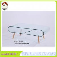 large hot bending glass coffee table wood legs coffee table center table B639-1