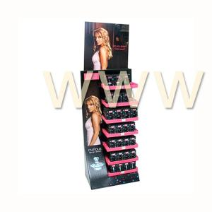 China Cosmetic Floor Cardboard Display Stands Art Logo Embossed for Promotional Cosmetics on sale