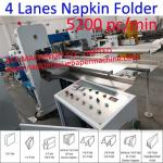 Four Decks Automatic Lunch Napkin Folding Machine, 5200 Pc/Min High Speed Beverage Napkin Machine