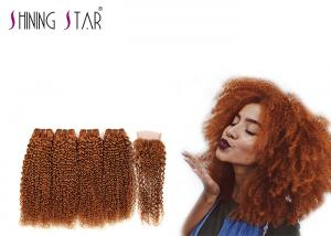 China Healthy Kinky Curly Human Hair Weave With Closure Full Cuticle Aligned Process Color #30 on sale
