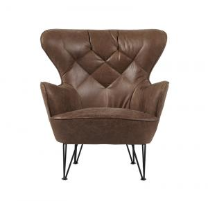 China Industrial Vintage style Top Grian Leather Leisure Chair with unique design steel frame on sale