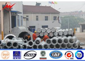 China 12m distribution pole galvanized electric Steel Power Pole cross arm on sale