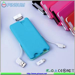 China 2015 newest credit card power bank 6000mah with all smartphone connectors on sale