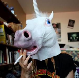 China Youtumall Halloween Black Mouth Unicorn Head Horse Mask on sale