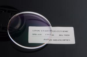Quality Durable 1.59 PC Blue Light Reduction Lenses Blanks , Hard Multi Coating Optical for sale
