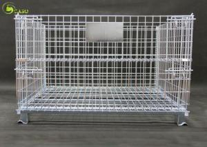 China Stacking Wire Container Storage Cages Galvanized Industrial Grid Pallet Cage supplier