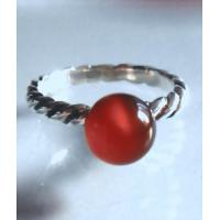 Handmade 925 Sterling Silver Red Agate Beads Gemstone Ring Jewelry