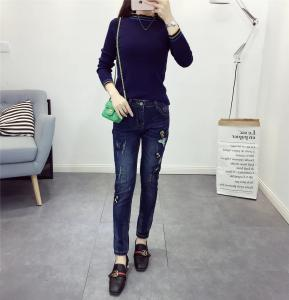 China High Waisted Black / Dark Blue Womens Tapered Jeans Flowers Embroideried Quick Dry on sale