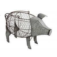 Pig-Shaped Metal Chicken Wire Basket With Handle, Galvanized Finish