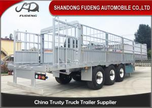 China Three Axles Aluminum Livestock Trailers / Stake Bed Trailer With Four  Main Beam on sale