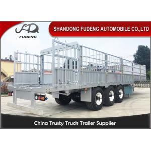 China Three Axles Aluminum Livestock Trailers/ Stake Bed TrailerWith Four  Main Beam on sale