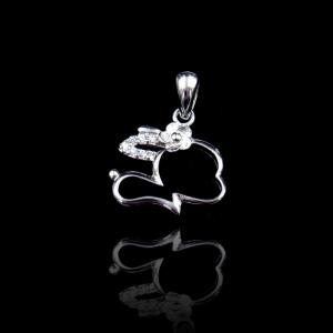 China Rabbit Lovely Cute Animal Pendants Vivid 925 Silver Hollow - Carved Jewelry on sale